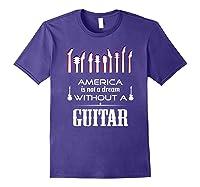 Patriot Guitarist T Shirt America Flag Guitar Purple