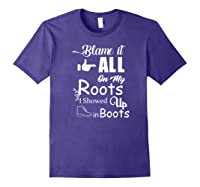 Blame It All On My Roots I Showed Up In Boots Premium T-shirt Purple