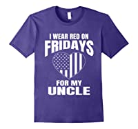 Red Fridays Deployed Uncle T-shirt Purple