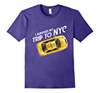 I Survived My Trip To Nyc T Shirt New York City Taxi Cab Tee Purple