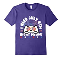 Cat July 4th Independence Day Meow Gift Shirts Purple