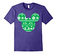 Disney Mickey Christmas Snowflakes T Shirt Purple