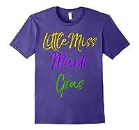 Little Miss Mardi Gras Shirt For Cute Girls Mardi Gras Purple