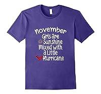 Birthday Gift Idea. Sunshine Hurricane Funny Quote Shirts Purple