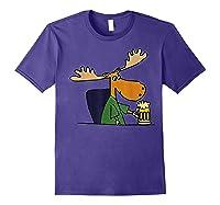 Smiletodaytees Funny Moose Drinking Mug Of Beer T-shirt Purple