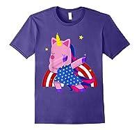 Dabbing Unicorn Merica 4th Of July For Shirts Purple