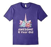 6th Birthday Unicorn Girls Age 6 Year Oid Niece Gifts Shirts Purple