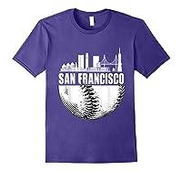 San Francisco Skyline City Baseball T Shirt Souvenir Skyline Purple