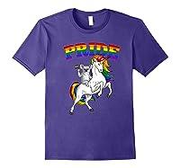 Koala Bear Unicorn Gay Pride Rainbow Q Cute Gift Shirts Purple