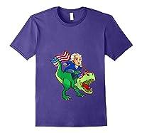 George Washington Riding T Rex Dinosaur 4th Of July Trex Shirts Purple