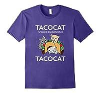 Tacocat Spelled Backwards Is Tacocat Funny Kitty Cat T-shirt Purple