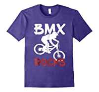 Bmx Riding Rocks T Shirt Cool Dirt Bike Race Stunt Gift Tees Purple