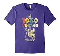 Vintage 1969 50th Birthday For Guitar Lover Tshirt T-shirt Purple