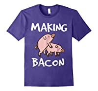 Pigs Making Bacon | Funny Pork Breakfast Shirt | Purple