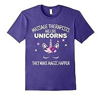 Funny Massage Therapist Unicorn For Gift Shirts Purple