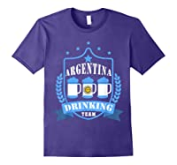 Beer Argentina Drinking Team Casual Argentina Flag T-shirt Purple