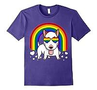 Bull Terrier Dog Gay Pride Rainbow Q Cute Gift Shirts Purple