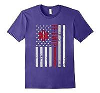 Ff Emtp Firefighter Paramedic Usa Flag Shirts Purple