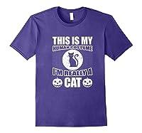 Halloween Cat Costume, This Is My Human Costume Retro Shirts Purple