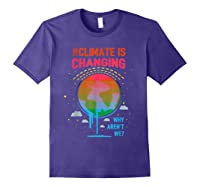 Climate Change Warming Awareness Earth Day T-shirt Purple