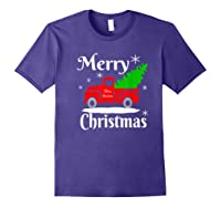 Merry Christmas Old Vintage Red Truck With Christmas Tree Shirts Purple