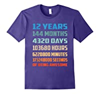 12th Birthday Gift 12 Years Old Being Awesome Shirts Purple