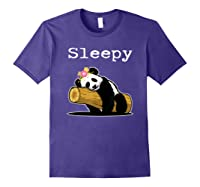 Sleepy Panda Shirt For Girls Cute Panda Flowers Lazy Relaxed Purple