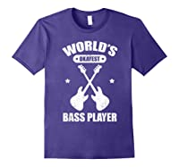 World's Okayest Bass Guitar Player Funny Music Lover Shirts Purple