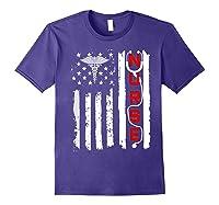 Patriotic American Usa Flag Correctional & Rn Nurse Tshirt Purple