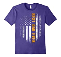 Vintage Best Dad Ever Shirt American Flag Father's Day Gift Purple