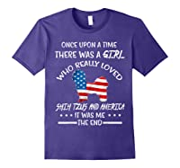 Once Upon A Time Shih Tzu America 4th Of July T Shirt Gift Purple