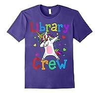 Library Crew Dabbing Unicorn 1st Day Of School Shirts Purple