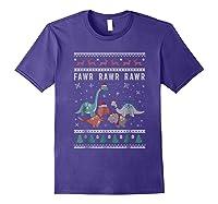 Dino Ugly Christmas Sweater Xmas Dinosaur Shirts Purple