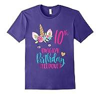 Unicorn 10th Magical Birthday Sleepover Party Girl Shirts Purple