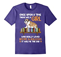 There Was A Girl Loved Book And Bulldogs Tshirt Gifts Purple