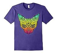 Techno Trance Edm Club Day Of The Dead Cat Sugar Skull Shirts Purple