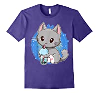 Kawaii Japanese Anime Cat Bubble Tea - Neko Kitty T-shirt Purple