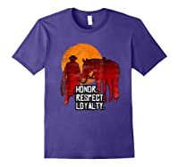 Red Horse Sunset T Shirt Honor Respect Loyalty Cowboy Purple