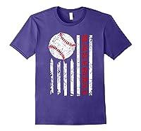 American Flag Baseball | July 4th Usa Flag Patriotic Design T-shirt Purple