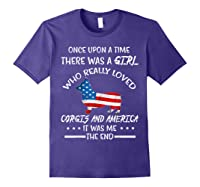 Once Upon A Time Corgi America 4th Of July T Shirt Gifts Purple