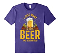 Funny Beer And Fishing Fathers Day Gift Adult Humor Shirts Purple