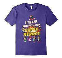Train Kindergarten Super Heroes Gift For Tea Shirts Purple