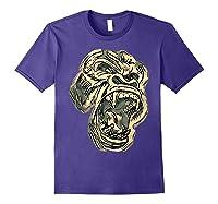 Angry Great Ape Art T-shirt Fierce Silverback Gorilla Face Purple