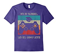 High School Graduation Shirt Level Complete Video Gamer Gift Purple