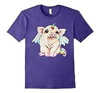 Cute Flying Unicorn Pig, Pigicorn Unipig Tshirt Purple