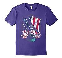 Vintage Bowling T Shirt American Usa Flag Bowling T-shirt Purple