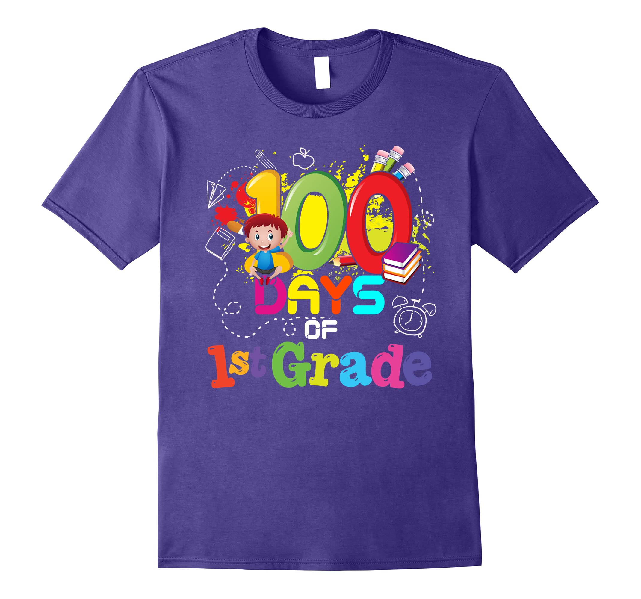 100 Days Of 1st Grade Teachers Kids T-Shirt-RT