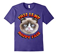 Grumpy Cat This Is My Happy Face Graphic Shirts Purple