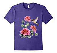 Hummingbird With Roses T For Shirts Purple