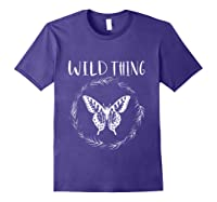 Wild Thing Butterfly Floral Wht Shirts Purple